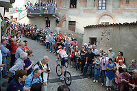 Stage 17 winner Roger Kluge (DEU/IAM) on the final ascent of the very steep (20%) cobbled Via Principi d'Acaja<br /> <br /> stage 18: Muggio - Pinerolo (240km)<br /> 99th Giro d'Italia 2016