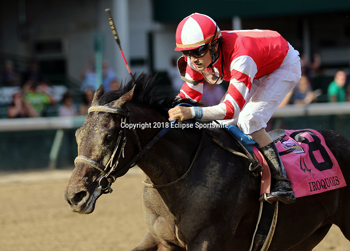 LOUISVILLE, KY - SEP 15: Cairo Cat (jockey Brian J. Hernandez Jr. ) wins the 37th running of the G3 Iroquois Stakes at Churchill Downs, Louisville, Kentucky. Owner Walking L Thoroughbreds, LLC (Scott Leeds), trainer Kenneth G. McPeek, by Cairo Prince x La Belle Cat (Tale of the Cat) (Photo by Mary M. Meek/Eclipse Sportswire/Getty Images)