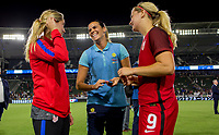 Carson, CA - Thursday August 03, 2017: Morgan Brian, Lindsey Horan during a 2017 Tournament of Nations match between the women's national teams of the United States (USA) and Japan (JAP) at StubHub Center.