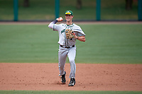 Dartmouth Big Green shortstop Nate Ostmo (5) throws to first base during a game against the USF Bulls on March 17, 2019 at USF Baseball Stadium in Tampa, Florida.  USF defeated Dartmouth 4-1.  (Mike Janes/Four Seam Images)