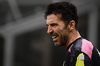 Gianluigi Buffon of Juventus FC reacts during the warm up prior to the Serie A football match between AC Milan and Juventus FC at San Siro Stadium in Milano  (Italy), January 6th, 2021. Photo Federico Tardito / Insidefoto