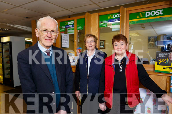 Seamus McCarthy Postmaster at Gneeveguilla which is closing after over 100 years of business on Wednesday with Nora McCarthy and Maureen Aherne