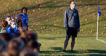 LITCHFIELD, CT-110620S16 —Litchfield girls soccer head coach Brian Mongeau look on as his team takes on Northwestern  Friday at Litchfield High School. <br /> Jim Shannon Republican-American