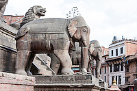 Bhaktapur, Nepal.  Elephants Guarding the Stairway to the Nyatapola Temple.  The temple was undamaged in the April 2015 earthquake.