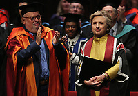 Pictured: Hillary Clinton is applauded after receiving an honorary degree at Swansea University Bay Campus. Saturday 14 October 2017<br />