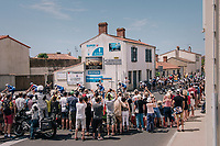 peloton led by Team quickstep shredding through town in Talmont-Saint-Hilaire<br /> <br /> Stage 1: Noirmoutier-en-l'Île > Fontenay-le-Comte (189km)<br /> <br /> Le Grand Départ 2018<br /> 105th Tour de France 2018<br /> ©kramon