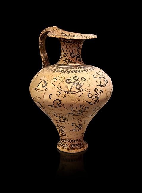 Minoan decorated jug with Marine style shell decoration, Zakros Palace  1500-1450 BC; Heraklion Archaeological  Museum, black background.