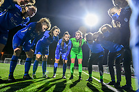 KRC Genk ready for the game pictured before a female soccer game between  Racing Genk Ladies and Club Brugge YLA on the 10 th matchday of the 2020 - 2021 season of Belgian Scooore Womens Super League , friday 18 th of December 2020  in Genk , Belgium . PHOTO SPORTPIX.BE | SPP | STIJN AUDOOREN