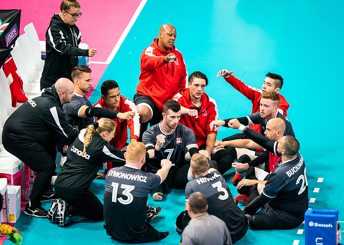Lima 2019 - Sitting Volleyball // Volleyball assis.<br /> Canada competes in men's Sitting Volleyball // Canada participe au volleyball assis masculin. 25/08/2019.