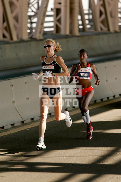 Paula Radcliffe (GBR) and Gete Wami (ETH) cross the Queensboro Bridge from Queens into Manhattan while competing in the ING New York City Marathon in New York, New York on November 4, 2007.  Martin Lel (KEN) won the men's race with a time of 2:09:04  Radcliffe won the women's race with a time of 2:23:09.