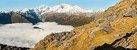 Southern Alps with main highest peaks Aoraki Mount Cook, Mount Tasman and La Perouse, Westland Tai Poutini National Park, UNESCO World Heritage Area, West Coast, New Zealand, NZ