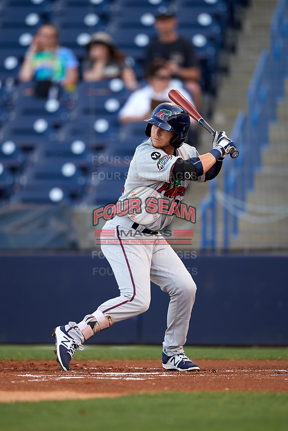 Fort Myers Miracle center fielder Casey Scoggins (32) at bat during a game against the Tampa Yankees on April 12, 2017 at George M. Steinbrenner Field in Tampa, Florida.  Tampa defeated Fort Myers 3-2.  (Mike Janes/Four Seam Images)