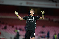 April 3rd 2021; Emriates Stadium, London, England;  Arsenals goalkeeper Bernd Leno reacts at the final whistle and a 0-3 loss after the Premier League match between Arsenal and Liverpool at the Emirates Stadium in London