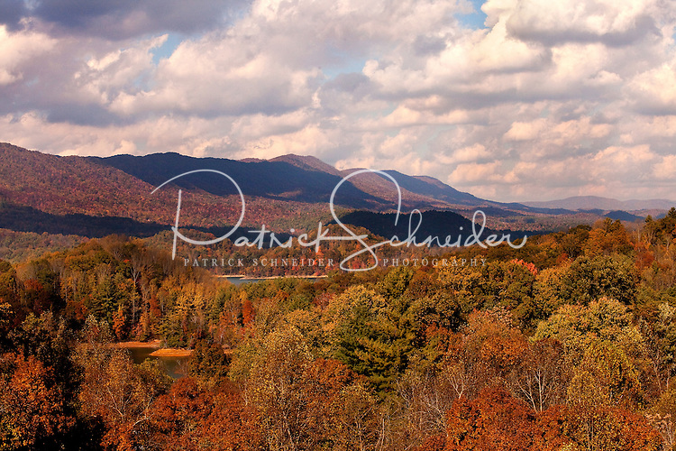 In autumn, the Cherokee National Forest looks like a bowl of fruit loops as it surrounds Watauga Lake. Lake Watauga is located in Northeastern Tennessee.