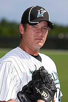 Pitcher Charlie Lowell #49 of the Florida Marlins instructional League team during a game against the Italian National Team at the Roger Dean Stadium in Jupiter, Florida;  September 27, 2011.  Italy is training in Florida for the Baseball World Cup.  (Mike Janes/Four Seam Images)