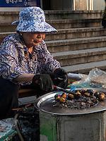 Verkauf von Esskastanien, Daegu, Provinz,Gyeongsangbuk-do , Südkorea, Asien<br /> Streetvendor of sweet chestnuts  in Daegu,  province Gyeongsangbuk-do, South Korea, Asia