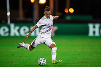 LAKE BUENA VISTA, FL - JULY 23: Rolf Feltscher #25 of the LA Galaxy kicks the ball during a game between Los Angeles Galaxy and Houston Dynamo at ESPN Wide World of Sports on July 23, 2020 in Lake Buena Vista, Florida.
