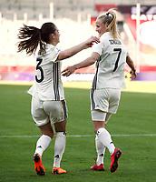 Sara Daebritz, Lea Schueller     celebration   3:0 <br /> /   World Championships Qualifiers women women /  2017/2018 / 07.04.2018 / DFB National Team / GER Germany vs. Czech Republic CZE 180407023 / <br />  *** Local Caption *** © pixathlon<br /> Contact: +49-40-22 63 02 60 , info@pixathlon.de