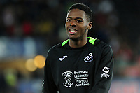 Jordon Garrick of Swansea City applauds the fans at the final whistle during the Carabao Cup Second Round match between Swansea City and Cambridge United at the Liberty Stadium in Swansea, Wales, UK. Wednesday 28, August 2019.