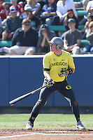 Mitchell Tolman #37 of the Oregon Ducks bats against the Loyola Marymount Lions at Page Stadium on February 23, 2014 in Los Angeles, California. Oregon defeated Loyola, 4-3. (Larry Goren/Four Seam Images)