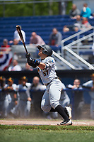 West Virginia Black Bears designated hitter Deon Stafford (57) hits a double during a game against the Batavia Muckdogs on June 25, 2017 at Dwyer Stadium in Batavia, New York.  West Virginia defeated Batavia 6-4 in the completion of the game started on June 24th.  (Mike Janes/Four Seam Images)