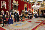Spanish Royals King Felipe VI of Spain and Queen Letizia of Spain receive the president of the republic of Peru, Mr. Ollanta Humala Tasso, y Mss. Nadine Heredia Alarcon at Royal Palace in Madrid, Spain. July 07, 2015. (ALTERPHOTOS/Victor Blanco)