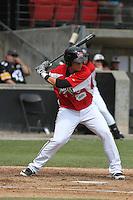Carolina Mudcats third baseman Giovanny Urshela #41 at bat during a game against the Lynchburg Hillcats at Five County Stadium on April 26, 2012 in Zebulon, North Carolina. Carolina defeated Lynchburg by the score of 8-5. (Robert Gurganus/Four Seam Images)