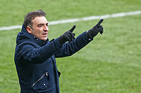 Swansea manager Carlos Carvalhal asks the assistant referee to check VAR after the goal scored by Christian Eriksen of Tottenham Hotspur during the Emirates FA Cup Quarter Final match between Swansea City and Tottenham Hotspur at The Liberty Stadium, Swansea, Wales, UK. Saturday 17 March 2018