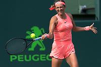 KEY BISCAYNE, FL - MARCH 22: Victoria Azarenka on day 10 of the Miami Open at Crandon Park Tennis Center on March 22, 2018 in Key Biscayne, Florida. <br /> <br /> <br /> People:  Victoria Azarenka