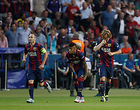 Calcio, finale di Champions League Juventus vs Barcellona all'Olympiastadion di Berlino, 6 giugno 2015.<br /> FC Barcelona's Ivan Rakitic, right, celebrates with teammates Andres Iniesta, left, and Neymar, after scoring during the Champions League football final between Juventus Turin and FC Barcelona, at Berlin's Olympiastadion, 6 June 2015.<br /> UPDATE IMAGES PRESS/Isabella Bonotto