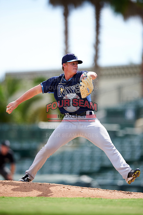 Tampa Bay Rays pitcher Austin Franklin (48) during an Instructional League game against the Baltimore Orioles on September 19, 2016 at Ed Smith Stadium in Sarasota, Florida.  (Mike Janes/Four Seam Images)