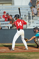 Garrett Smith (14) (North Alabama) of the Lake Norman Copperheads at bat against the Mooresville Spinners at Moor Park on July 6, 2020 in Mooresville, NC.  The Spinners defeated the Copperheads 3-2. (Brian Westerholt/Four Seam Images)