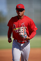 GCL Cardinals right fielder Jhon Torres (33) jogs back to the dugout during a game against the GCL Nationals on August 5, 2018 at Roger Dean Chevrolet Stadium in Jupiter, Florida.  GCL Cardinals defeated GCL Nationals 17-7.  (Mike Janes/Four Seam Images)