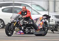Feb 10, 2017; Pomona, CA, USA; NHRA top fuel nitro Harley rider Tii Tharpe during qualifying for the Winternationals at Auto Club Raceway at Pomona. Mandatory Credit: Mark J. Rebilas-USA TODAY Sports