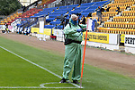 St Johnstone v Hibs……23.08.20   McDiarmid Park  SPFL<br />Groundsman Chris Smith disinfecting the corner flags<br />Picture by Graeme Hart.<br />Copyright Perthshire Picture Agency<br />Tel: 01738 623350  Mobile: 07990 594431