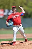 Philadelphia Phillies pitcher Ethan Stewart (52) during a minor league spring training game against the Pittsburgh Pirates on March 18, 2014 at the Carpenter Complex in Clearwater, Florida.  (Mike Janes/Four Seam Images)