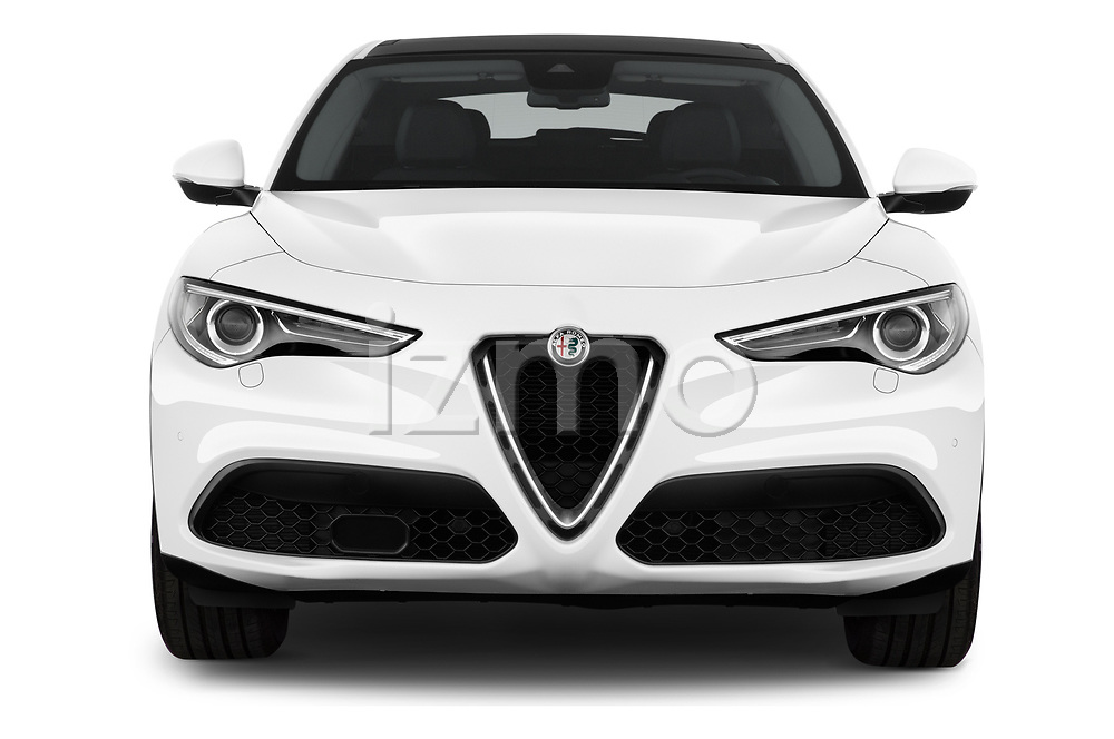 Car photography straight front view of a 2020 Alfaromeo Stelvio Super 5 Door SUV Front View