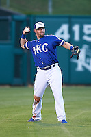 Oklahoma City Dodgers outfielder Andy Wilkins (38) throws the ball in during a game against the Fresno Grizzles on June 1, 2015 at Chickasaw Bricktown Ballpark in Oklahoma City, Oklahoma.  Fresno defeated Oklahoma City 14-1.  (Mike Janes/Four Seam Images)
