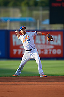 St. Lucie Mets shortstop Todd Frazier (19), on rehab assignment, throws to first base during a Florida State League game against the Florida Fire Frogs on April 12, 2019 at First Data Field in St. Lucie, Florida.  Florida defeated St. Lucie 10-7.  (Mike Janes/Four Seam Images)