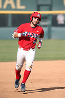Cesar Salazar (12) of the Arizona Wildcats runs the bases after hitting a home run against the UCLA Bruins at Jackie Robinson Stadium on March 19, 2017 in Los Angeles, California. UCLA defeated Arizona, 8-7. (Larry Goren/Four Seam Images)