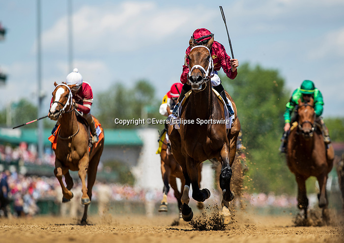 April 30, 2021: Florent Geroux celebrates aboard Shedaresthedevil as the win the La Troienne Stakes at Churchill Downs in Louisville, Kentucky on April 30, 2021. EversEclipse Sportswire/CSM