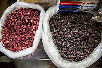 Yogyakarta, Java, Indonesia.  Dried Hibiscus Leaves, Better Quality on Right.  Beringharjo Market.