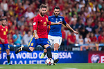 Sergio Ramos (L) of Spain fights for the ball with Antonio Candreva (R) of Italy during their 2018 FIFA World Cup Russia Final Qualification Round 1 Group G match between Spain and Italy on 02 September 2017, at Santiago Bernabeu Stadium, in Madrid, Spain. Photo by Diego Gonzalez / Power Sport Images