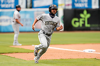 Montgomery Biscuits left fielder Cal Stevenson (4) hustles home against the Tennessee Smokies on May 9, 2021, at Smokies Stadium in Kodak, Tennessee. (Danny Parker/Four Seam Images)