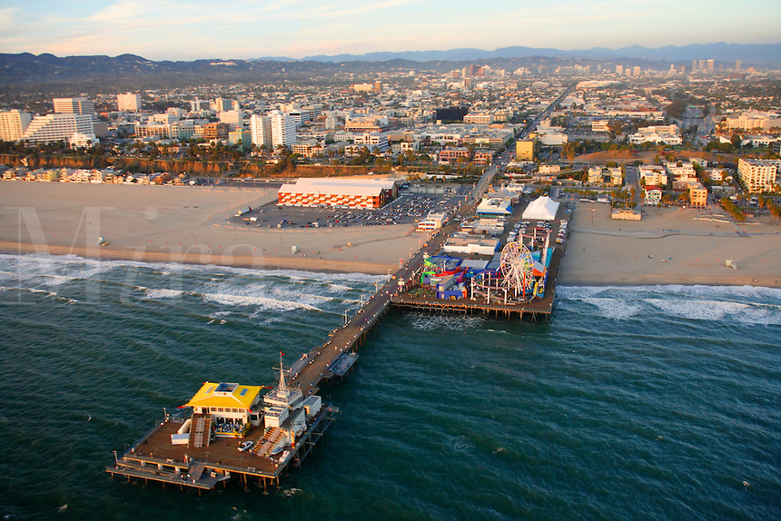 Aerial view the Santa Monica Pier, near Los Angeles, California