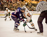 20 January 2017: University of Connecticut Husky Forward Max Kalter, a Sophomore from Highland Park, IL, takes a second period face-off against University of Vermont Catamount Forward Brady Shaw, a Senior from Ottawa, Ontario, at Gutterson Fieldhouse in Burlington, Vermont. The Huskies fell to the Catamounts 5-4 in the first game of their Home-and-Home Hockey East Series. Mandatory Credit: Ed Wolfstein Photo *** RAW (NEF) Image File Available ***