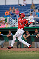 Batavia Muckdogs second baseman Gerardo Nunez (1) follows through on a swing during a game against the West Virginia Black Bears on June 19, 2018 at Dwyer Stadium in Batavia, New York.  West Virginia defeated Batavia 7-6.  (Mike Janes/Four Seam Images)
