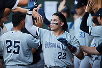 Andres Chaparro (22) of the Hudson Valley Renegades high fives his teammates after hitting a home run against the Winston-Salem Dash at Truist Stadium on August 28, 2021 in Winston-Salem, North Carolina. (Brian Westerholt/Four Seam Images)