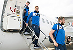 FK Trakai v St Johnstone…05.07.17… Europa League 1st Qualifying Round 2nd Leg<br />Liam Craig steps off the aircraft after landing in Vilnius, Lithuania<br />Picture by Graeme Hart.<br />Copyright Perthshire Picture Agency<br />Tel: 01738 623350  Mobile: 07990 594431