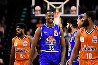 Romaro Gill of the Wellington Saints before the round two NBL match between the Wellington Saints and the Southland Sharks at TSB Bank Arena, Wellington, New Zealand on Friday 7 May 2021.<br /> Photo by Masanori Udagawa. <br /> www.photowellington.photoshelter.com